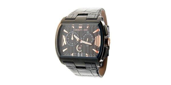 Čierne ocelové hodinky Cerruti 1881 s čiernym koženým pásikom