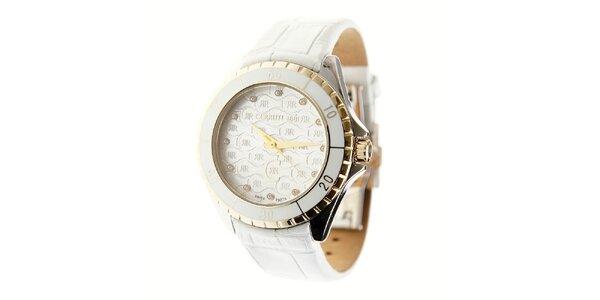 Dámske biele hodinky Cerruti 1881 s bielym koženým pásikom a kryštálmi
