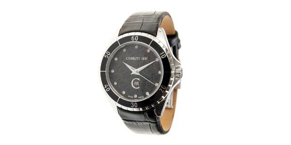 Dámske čierne hodinky Cerruti 1881 s čiernym koženým pásikom a kryštálmi