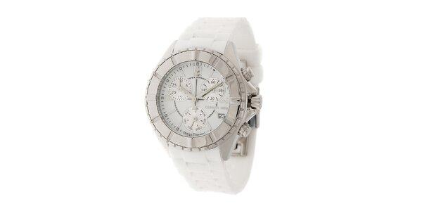 Dámske ocelové hodinky Cerruti 1881 s bielym pryžovým pásikom