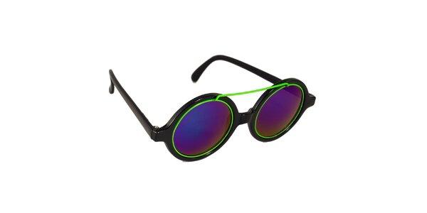 Dámske čierno-fialové lenonky so zeleným detailom Jeepers Peepers