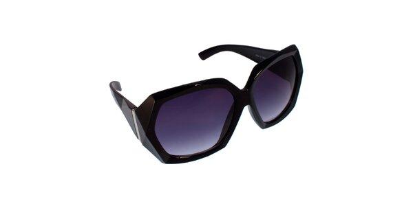 Dámske čierno-fialové slnečné okuliare s ostrými hranami Jeepers Peepers