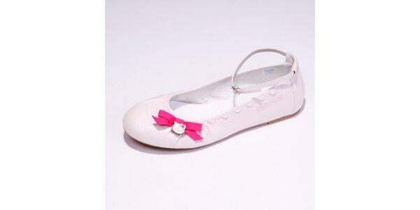 Dámske biele baleríny s ružovou mašličkou Hello Kitty