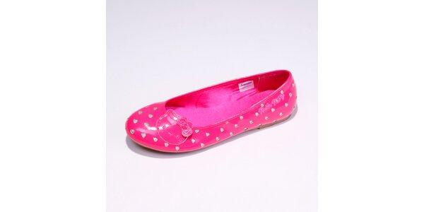 Dámske ružové balerínky so striebornými srdiečkami Hello Kitty