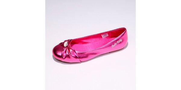 Dámske ružové metalické balerínky s mašľou Hello Kitty