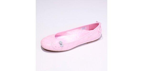 Dámske ružové lakované balerínky Hello Kitty