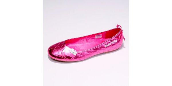 Dámske ružové metalické baleríny Hello Kitty