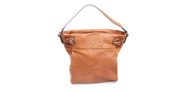 Dámska karamelová kabelka s prackami Sisley
