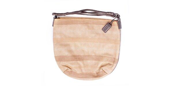 Dámska béžová kabelka s prešívaním a hnedými ušmi Sisley
