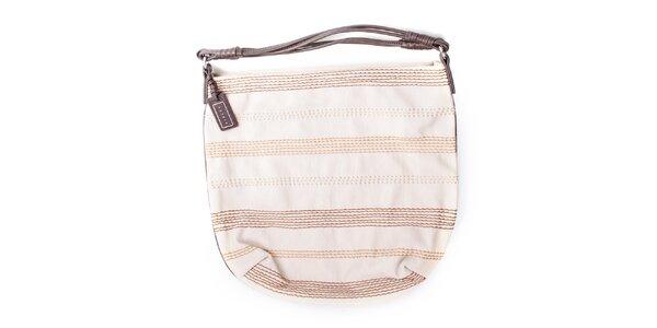 Dámska smotanová kabelka s prešívaním Sisley