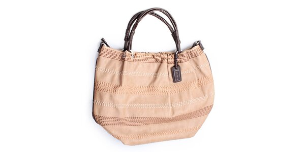 Dámska béžová kabelka s prešívaním Sisley