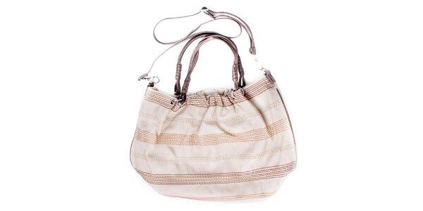 Dámska oválná smotanovo béžová kabelka s prešívaním Sisley