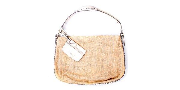 Dámska veľká béžová kabelka s bielymi ušmi Sisley