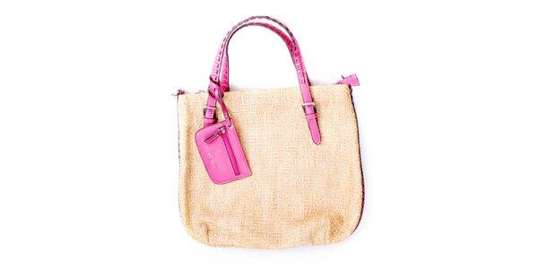 Dámska veľká béžová kabelka s ružovými ušmi Sisley