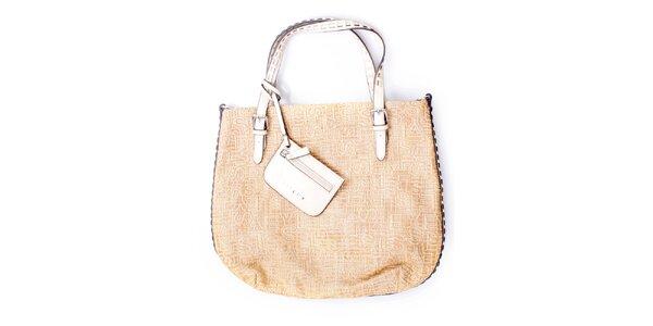 Dámska veľká béžová kabelka s malou peňaženkou Sisley