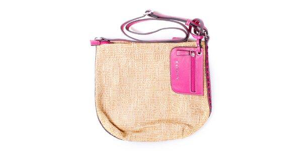 Dámska béžová kabelka s ružovými ušmi Sisley