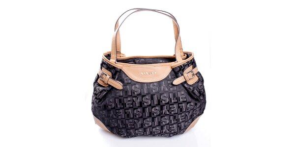 Dámska čierna kabelka s monogramom a béžovými ušmi Sisley