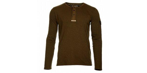 Pánske khaki tričko Bushman s dlhým rukávom a gombíkmi