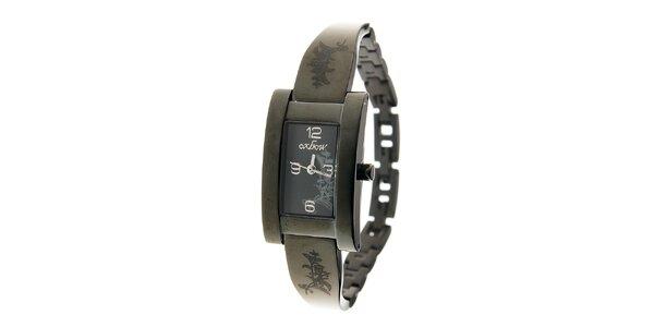 Dámske čierne oceľové hodinky Oxbow