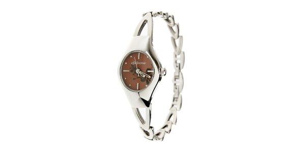 Dámske oceľové hodinky Oxbow s tmavo hnedým ciferníkom