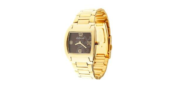Dámske zlaté hodinky Oxbow s tmavo hnedým ciferníkom