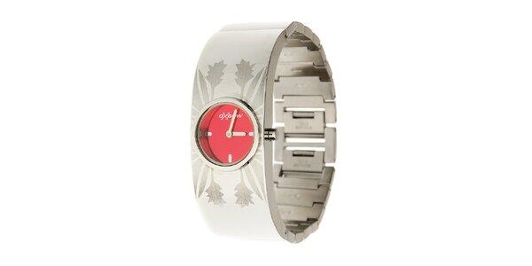 Dámske oceľové hodinky Oxbow s červeným ciferníkom