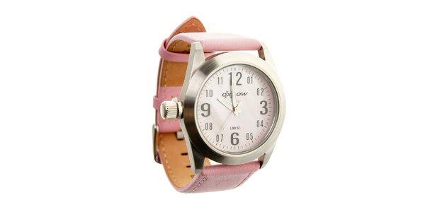 Dámske oceľové hodinky Oxbow s ružovým koženým remienkom