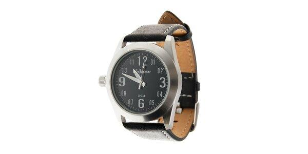 Dámske oceľové hodinky Oxbow s čiernym koženým remienkom