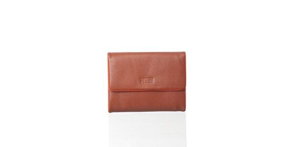 Dámská hnedá kožená peňaženka Gianfranco Ferré s oranžovým lemom