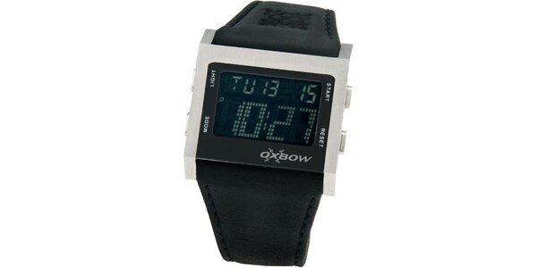 Pánske čierne digitálne hodinky so strieborným lemovaním Oxbow