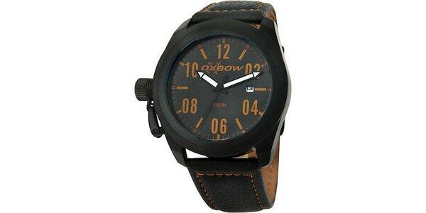 Pánske čierne analogové hodinky s okrovými detailmi Oxbow