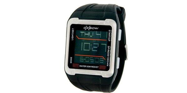 Pánske čierne digitálne hodinky s červenými detailmi Oxbow