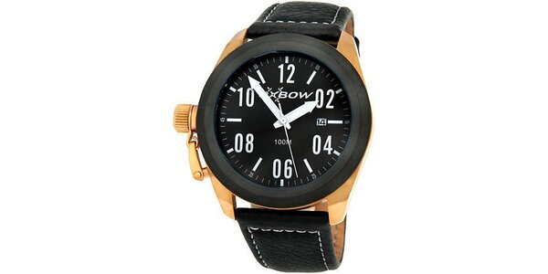 Pánske čierne analogové hodinky so zlatými detailmi Oxbow