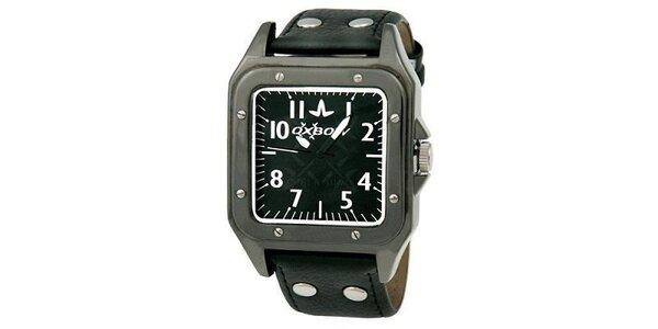Pánske hranaté čierne analogové hodinky Oxbow