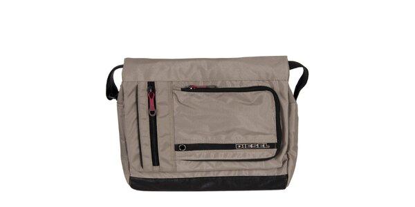 Šedo-béžová taška cez rameno Diesel s červenými detailmi