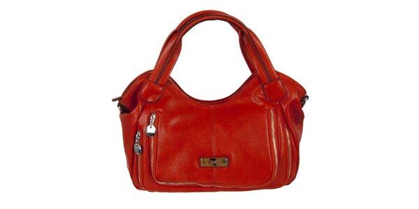 Dámska červená kabelka s dvojitým zipsom Diesel