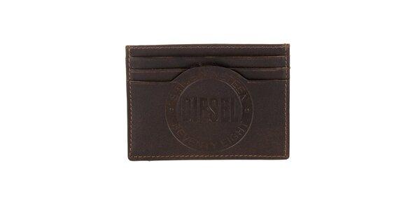 Hnedý kožený obal na karty s logom Diesel