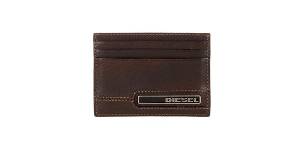 Hnedý kožený obal na karty Diesel
