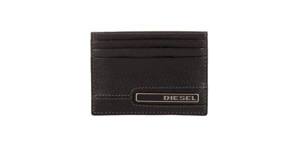 Čierny kožený obal na karty Diesel