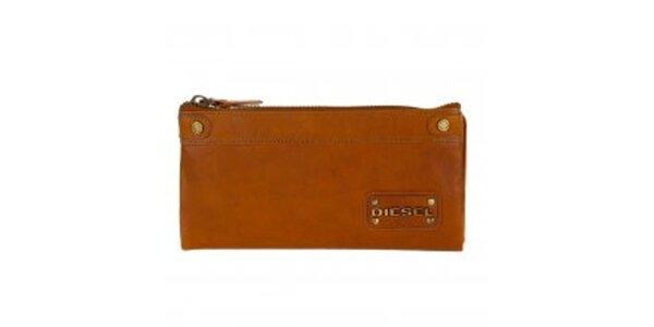 Dámska karamelovo hnedá kožená peňaženka Diesel