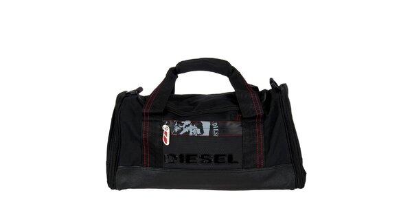 Menšia čierna športová taška Diesel