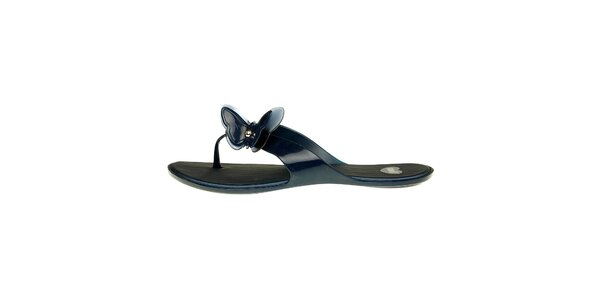 Dámske temno modré žabky Mel s motýlikom