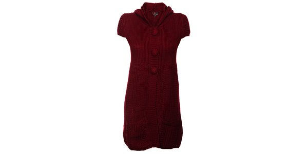 Dámske vínové pletené šaty Yumi s kapucňou a bambuľkami