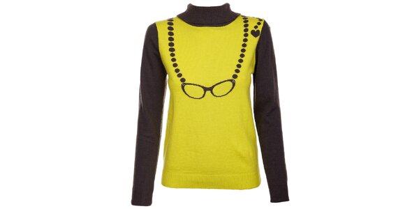 Dámsky limetkový sveter Yumi so vzorom okuliarov a gombíkmi