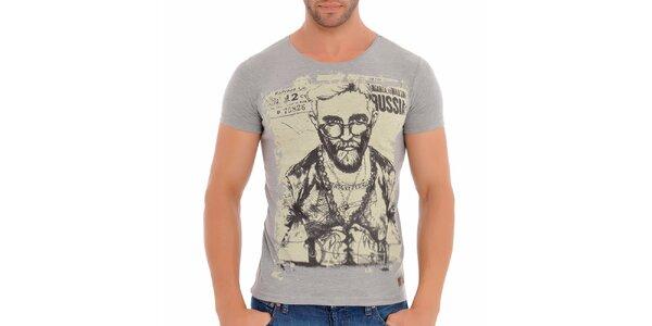 Pánske šedé tričko s potiskom Wessi