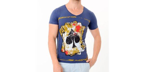 Pánske modré tričko s potiskom karet Wessi