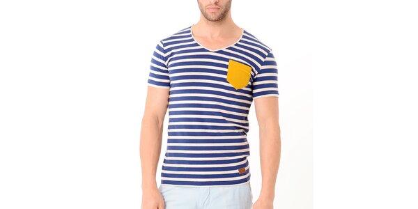 Pánske modro-béžové pruhované tričko s žltou kapsou Wessi