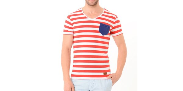 Pánske červeno-biele pruhované tričko s modrou kapsou Wessi