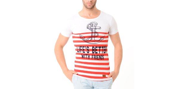 Pánske biele tričko s červenými prúžkami a kotvou Wessi