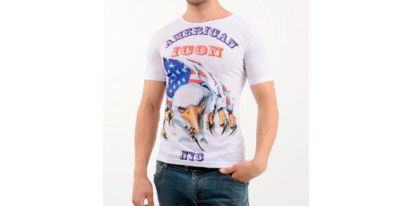 Pánske biele tričko s potiskom americkej vlajky Wessi